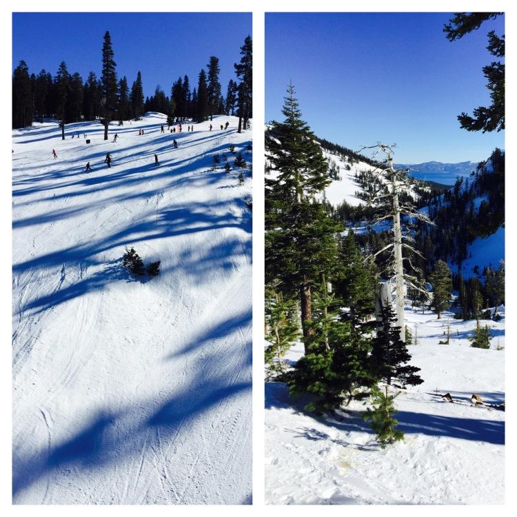Lake Tahoe snowy ski run